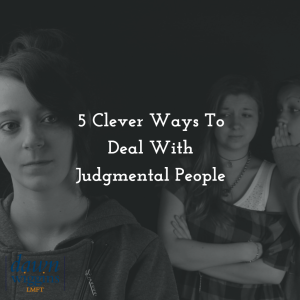 woman in front of a group of judgmental people, looking and talking about her