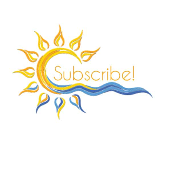 subscribe button with sun and blue clouds in it, linking to the seven life hacks how to be happy checklist