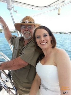 Dawn Wiggins with her dad on her wedding day, father's day thoughts of a daughter