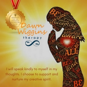 woman praying, plaque awarded top 100 marriage counseling blog, lettering I will speak kindly to myself in my thoughts. I choose to support and nurture my creative spirit. Take responsibility for your choice.