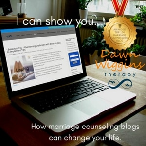 open laptop with Dawn Wiggins Therapy marriage counseling's Key Largo and Boca Raton page open, symbolizing the power of marriage counseling blogs