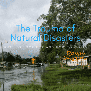 flooded street in Brevard County neighborhood after hurricane Irma, the trauma of natural disasters and coping with PTSD after a catastrophic event