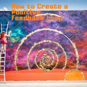 A young female artist on a ladder is creating a beautiful loop mural on a wall, how to create a positive feedback loop