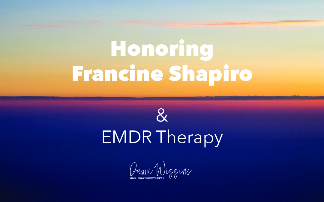 blue ocean with sun going down, honoring Francine Shapiro and EMDR therapy down