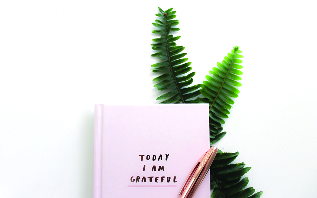 book with the title Today I Am Grateful, pen and two leaves, How to Forgive Yourself and Others